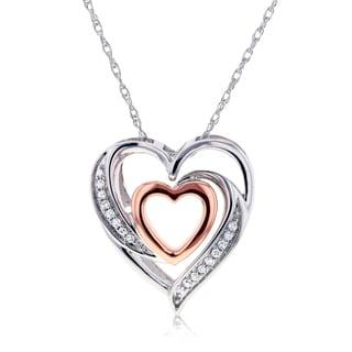 Annello 10k Two Tone Gold Double Hearts Diamond Pendant (H-I, I2)