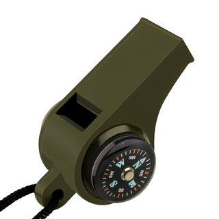 Insten 3 in 1 Army Green Hiking Camping Outdoor Whistle with Compass and Thermometer