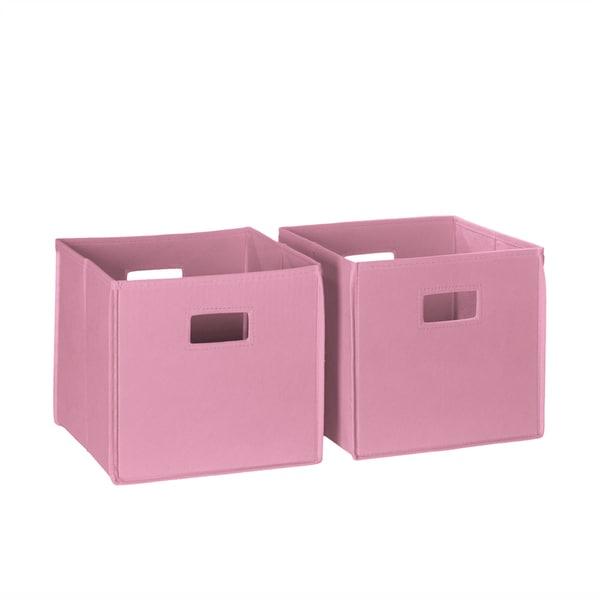 2-piece Pink Cut-out Handle Folding Storage Bin Set