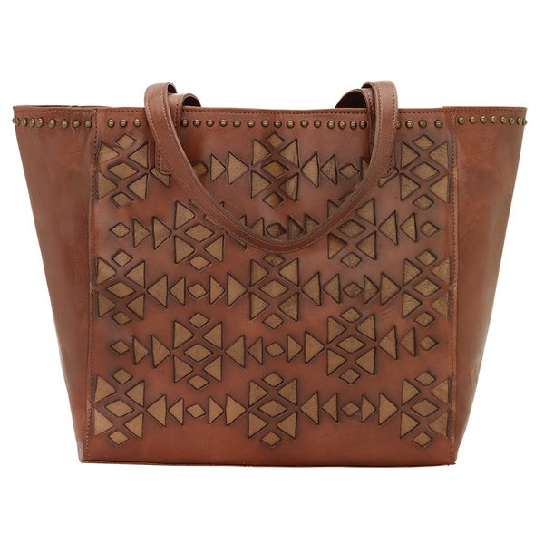 American West Azteca Collection Tan Tote Bag