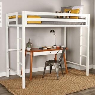 Twin Metal Loft Bed - White