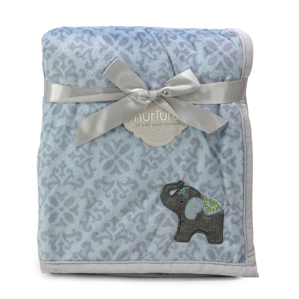 Nurture Elephant Jubilee Plush Blanket with Applique