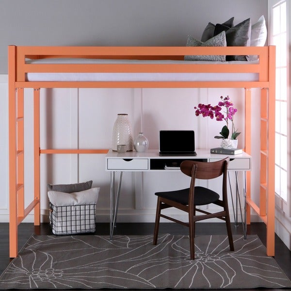 Twin Metal Loft Bed - Coral