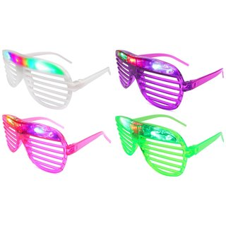 Velocity Toys Flashing LED Multi Color Slotted Shutter Glasses (Set of 4)