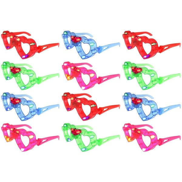 Velocity Toys Set of 12 Flashing LED Multi Color Love Heart Glasses (Colors May Vary)