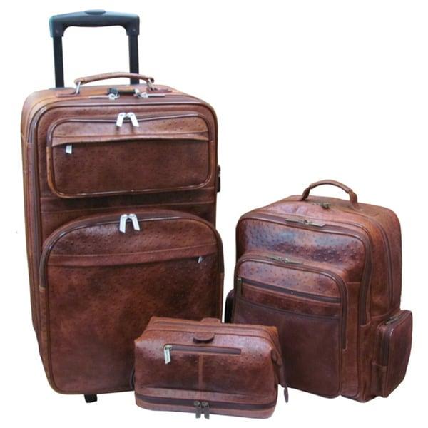 Amerileather Brown Ostrich-print Leather Three-Piece Luggage Set Set