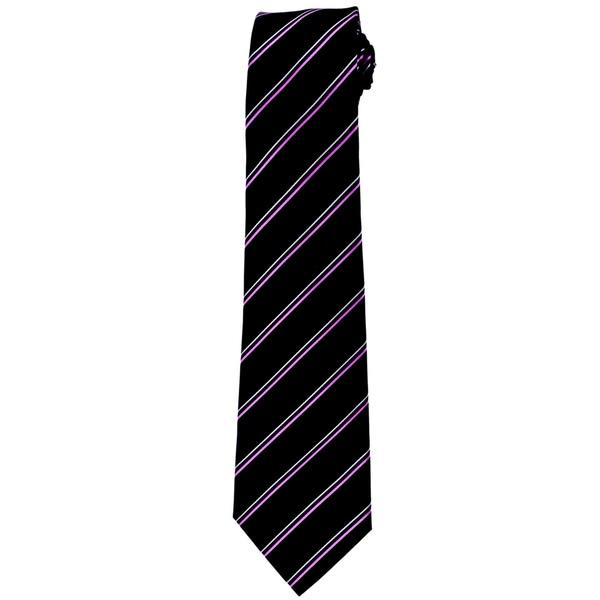 Davidoff 100-percent Silk Black/ Purple Stripe Neck Tie