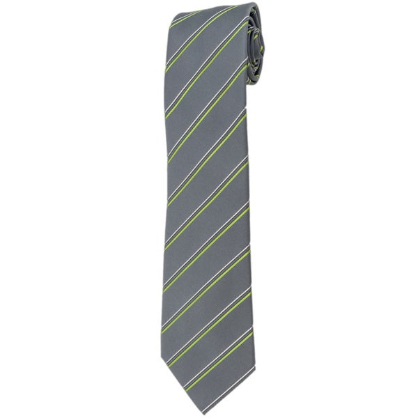 Davidoff 100-percent Silk Grey/ Green Stripe Neck Tie