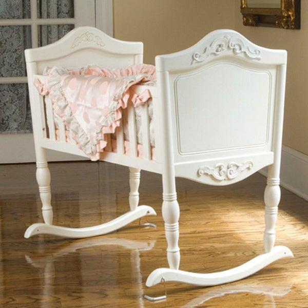 Green Frog Art Antique White Cradle