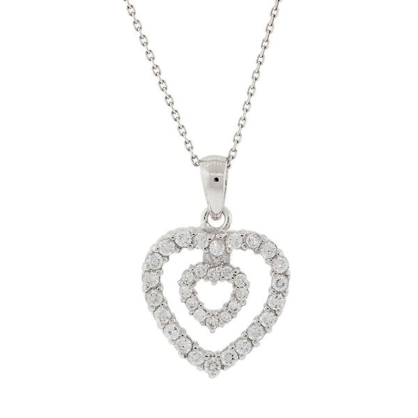 Pori Sterling Silver Floating Heart Cubic Zirconia Pendant Necklace