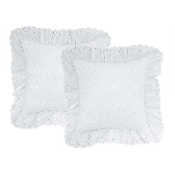 White Eyelet Pillows (Set of 2)