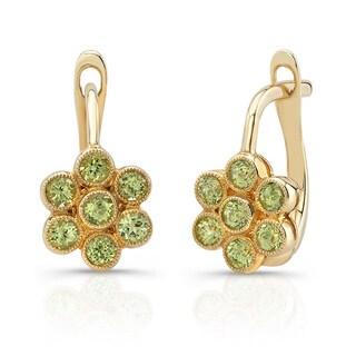 14k Yellow Gold Green Peridot Flower Earrings