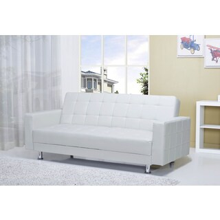 Frankfort White Convertible Loveseat
