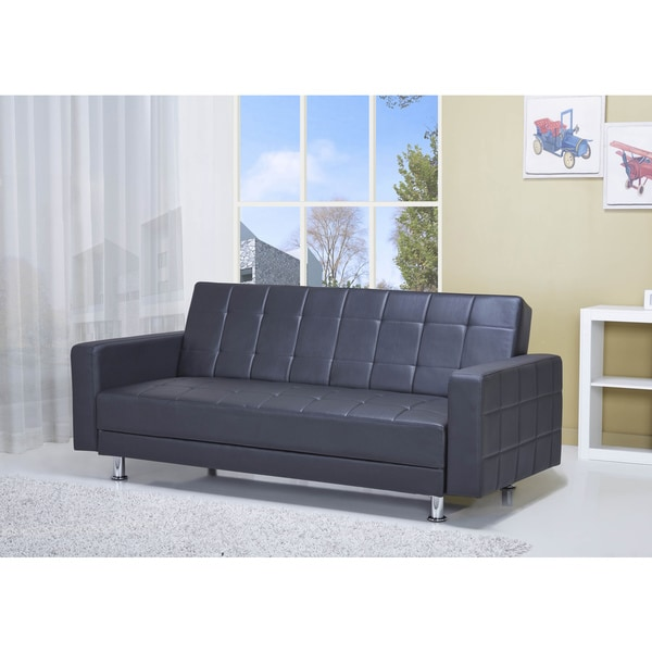Frankfort Black Convertible Loveseat