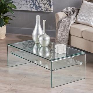 Christopher Knight Home Ramona Glass Rectangle Coffee Table with Shelf
