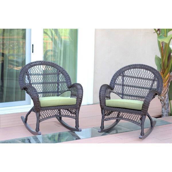 Santa Maria Espresso Wicker Rocker Chair With Cushion Set
