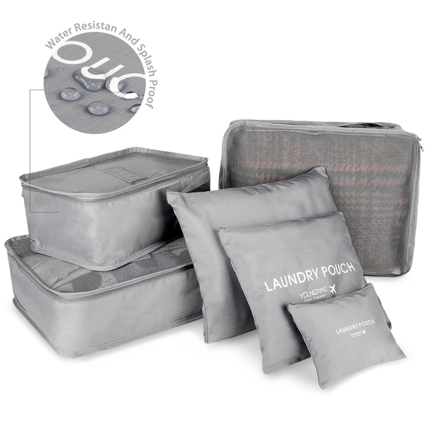 Zodaca 6-piece Set Grey Travel Luggage Organizer Make-up Storage Toiletry Bags