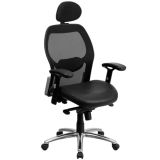 Darham Black Leather Executive Swivel Adjustable Office Chair with Headrest and Chrome Base