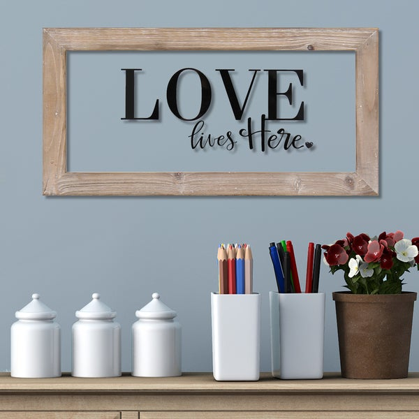 Stratton Home Decor Love Lives Here Framed Art