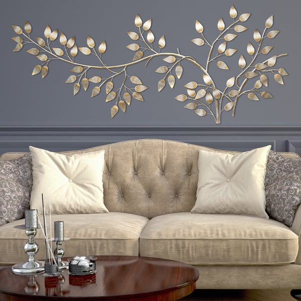 Stratton home decor brushed gold flowing leaves wall decor for Home decor items on sale