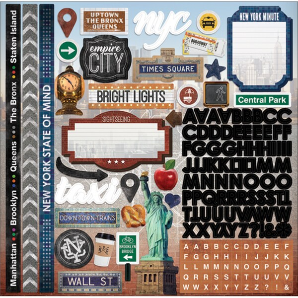 Paper House Cardstock Stickers 12inX12in New York City 17317516