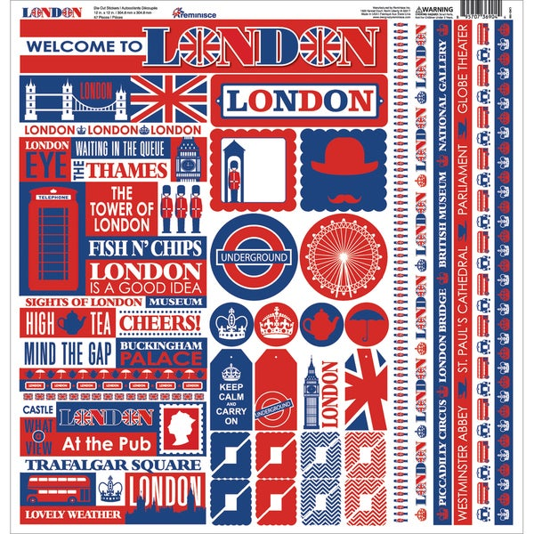 London Cardstock Multi Stickers 12inX12in