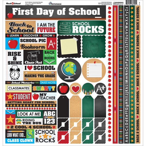 Back To School Cardstock Multi Stickers 12inX12in