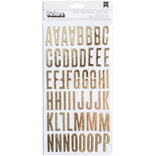 Clearly Posh Thickers Alpha Stickers 5.5inX11in 2/Pkg Shoebox/Gold Foil Chipboard