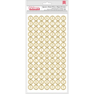 Wildflower Thickers Alpha Stickers 5.5inX11in 2/Pkg Typewriter/Gold Foil Chipboard