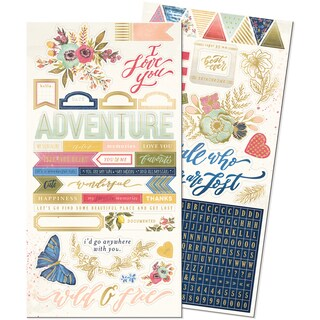 Wildflower Stickers 6inX12in 2/Pkg Alpha, Words & Icons