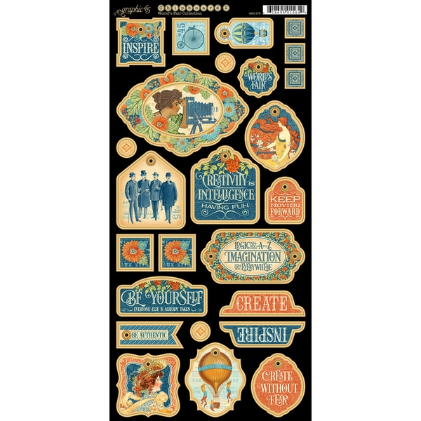 World's Fair Chipboard Die Cuts 6inX12in Sheet Decorative