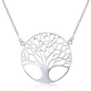 La Preciosa Sterling Silver Lightweight Tree of Life Circle Necklace