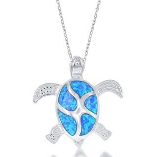 La Preciosa Sterling Silver Created Blue Opal Large Turtle Necklace