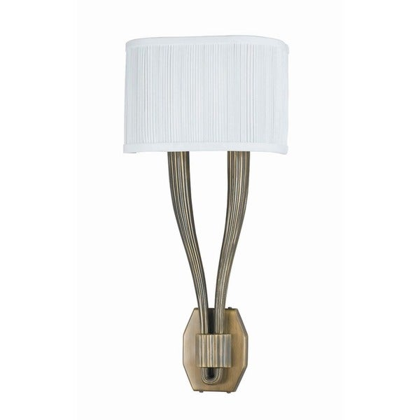 Crystorama Transitional 2-light Antique Brass Wall Sconce