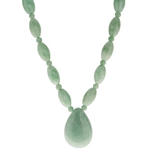 Gems For You 14k Yellow Gold Jade Bead Pear Drop Necklace