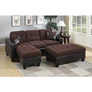 Mirco Fiber and Faux Leather Piacenza Sectional Sofa With Ottoman