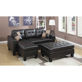 Aspen reversible espresso bonded leather chaise sectional for Aspen sectional sofa with ottoman