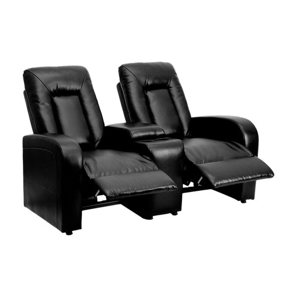 Offex Eclipse Series 2-seat Reclining Black Leather Theater Seating Unit with Cup Holders 17317791