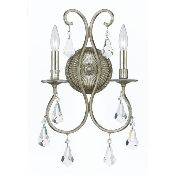 Crystorama Ashton Collection 2-light Olde Silver Wall Sconce 17317792