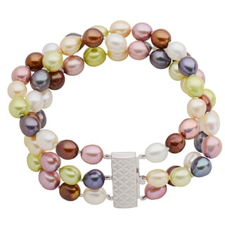 Pearls For You Sterling Silver Colorful Freshwater Pearl Bracelet (7-7.5 mm)