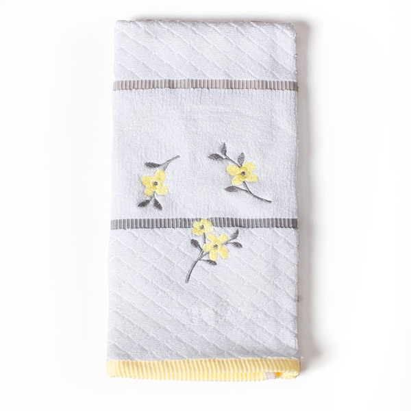 Spring Garden Floral Embroidered Bath Towel