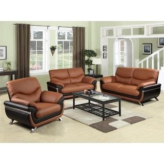 Christina red black 2 tone bonded leather modern sofa set - Red leather living room furniture set ...