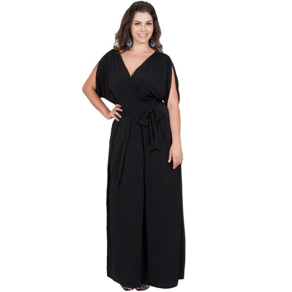 Koh Koh Women's Plus Size Batwing Tie Around Maxi Dress