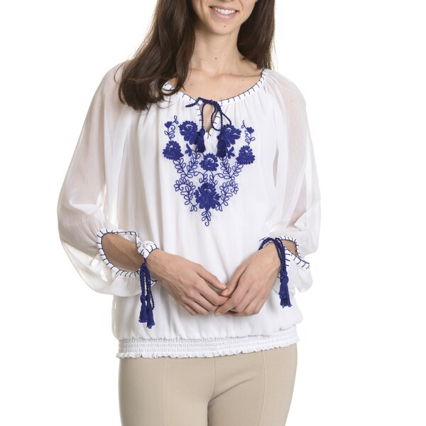 Sunny Leigh Women's Petite Peasant Blouse