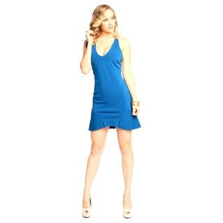 Sara Boo Women's Sexy Plunge Sheer Back Dress