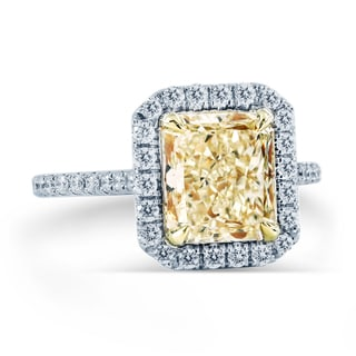 18k White Gold GIA Certified 3 5/8ct TDW Fancy Yellow Halo Engagement Ring (G-H, SI1-SI2)