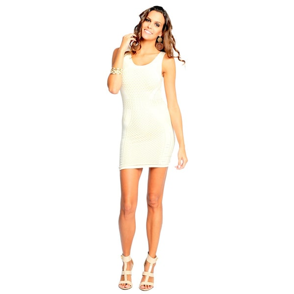 Sara Boo Women's White Shimmery Seamless Sheath Dress