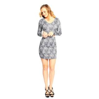 Sara Boo Women's Black and White Print Sheer Mesh Sides Dress