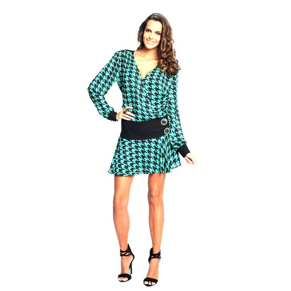 Sara Boo Women's Black and Green Print Drop Waist Dress