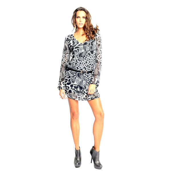 Sara Boo Women's Black and White Tunic Dress